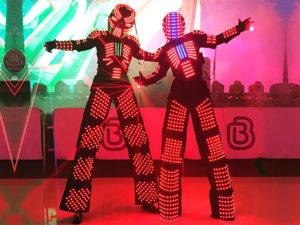 LED Robots dance at events